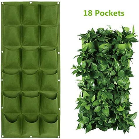 9/18 Pockets Planting Bags Wall Hanging Gardening Planter Outdoor Indoor Vertical Greening Grow Bags Flower Growing Container Green