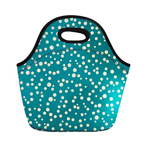 Tinmun Lunch Tote Bag Blue Teal Polka Dot Irregular Shapes Dotted Circles Colorful Reusable Neoprene Bags Insulated Thermal Picnic Handbag for Women Men