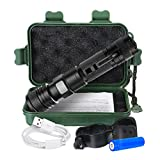 PATHONOR USB Rechargeable Flashlight, Portable LED Handheld Flashlight/Tactical Flashlight/5 Modes/1000 Lumens/Telescopic Zoom/Water Resistant Torch/Power Display,Includes Battery and Bike Clip