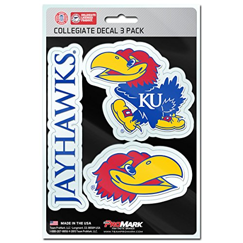NCAA Kansas Jayhawks Team Decal, 3-Pack