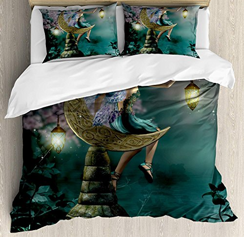 Fantasy Bedding Duvet Cover Set, Little Pixie with Lantern Sitting on Moon Stone Fairytale Myth Kitsch Artwork, Decorative 3 Piece Bedding Set with 2 Pillow Shams, Gold Teal Lilac -Full for $<!--$107.50-->