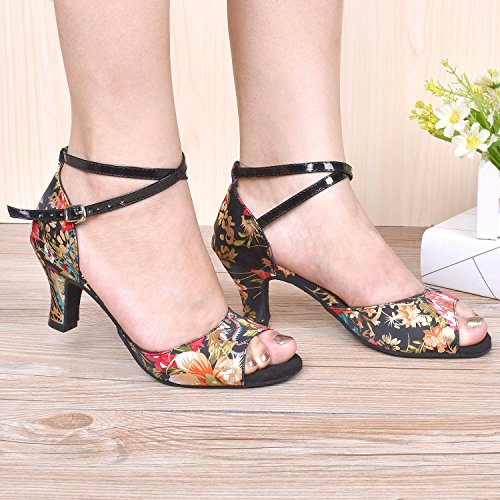 Salsa Ballroom for Shoes HXYOO Floral Women Black Satin Dance Latin Indoor 0PPYH