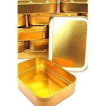 10 x Metal Large 2oz Tobacco Tin with Lids - Plain Gold/Copper Colour FREE POST (10 x Large 2oz Plain) by None
