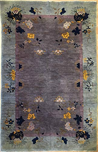 Antique Art Deco 1920s Art Nouveau Rug Chinese Oriental Carpet 3.1 x 4.10