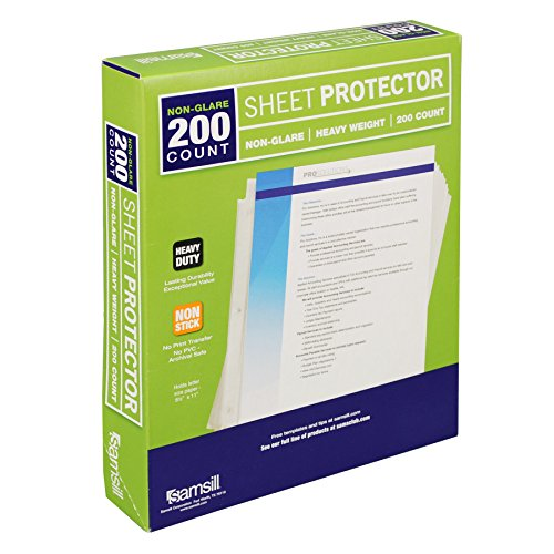Samsill Heavyweight Non-Glare Sheet Protectors, Box of 200 Plastic Page Protectors, Acid Free / Archival Safe, Top Load 8.5 x 11 Inches