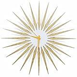 Starburst Wall Clock 'Atomic Era Clock - Maple White/Orange' by Adam Schwoeppe & Nicholas Yust - Midcentury Decor, Wood & Acrylic Retro Modern Design