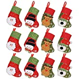 "Cute Christmas Mini Stocking 6-1/4"" Great Gift Xmas Party Favors Supplies Decorative Little Treats Santa 3D Rustic Stockings Goodies Bags Stuff Silverware/Utensils Holders 12 Pack"