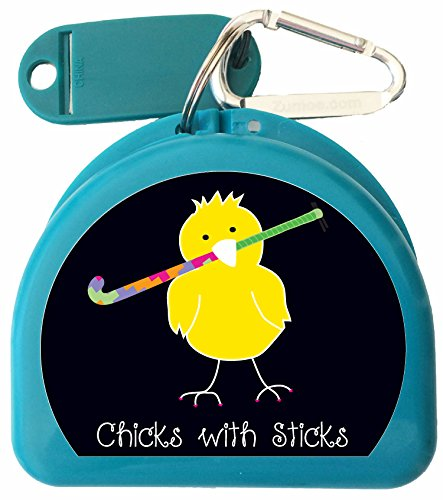 Field Hockey Bag (Zumoe Field Hockey Mouth Guard Case, Sports Mouth Guard Case, Fun Retainer Case or Dental Case called Chick with Field Hockey Stick (Aqua))