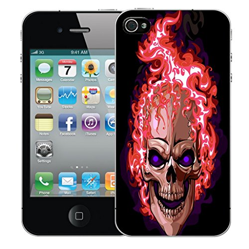 Mobile Case Mate iPhone 5s Silicone Coque couverture case cover Pare-chocs + STYLET - Red Fire Skull pattern (SILICON)
