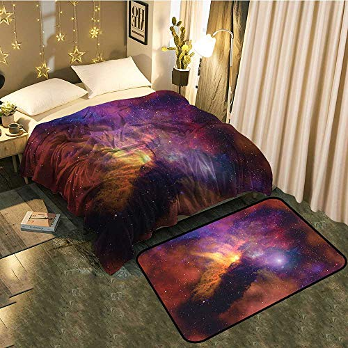 (Bedside Blanket Doormat Suit Space Stars and Nebula Gas and Dust Cloud Celestial Solar Galacy System Cozy and Durable Blanket 50