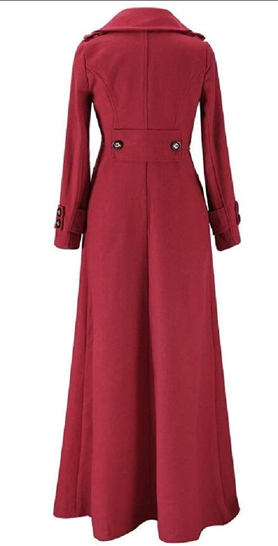 Abetteric Womens woolen Autumn Winter Floor-length Fit Longline Peacoats