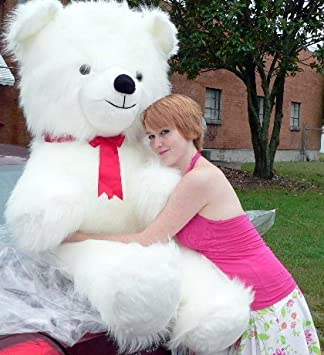 Giant 4 And 1/2 Feet Tall Soft White Furry Teddy Bear Weighs