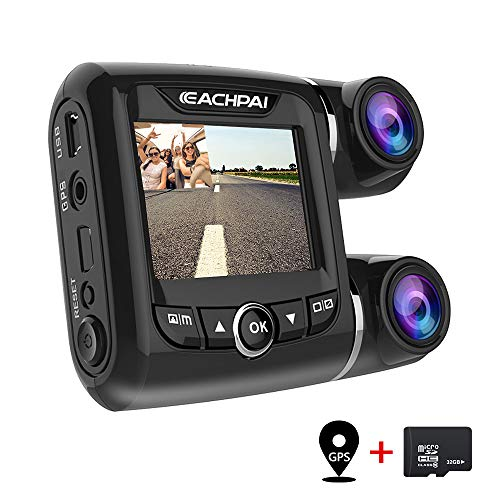 EACHPAI Car Dash Cam,Dual Dash Cam FHD 1080P+1080P Front and Rear View 2 LCD 140 Degree Wide Angle Super Capacitor Dashboard Camera Recorder with Sony Exmor Video Sensor, G-Sensor, Loop Recording,GPS