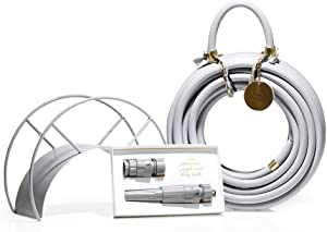 Grey Garden Hose and Hose Holder Kit - Graceful Rock - Exclusive Designed Water Hose, Wall Mounted Hose Hanger, and Nozzle (Multiple Colors Available)