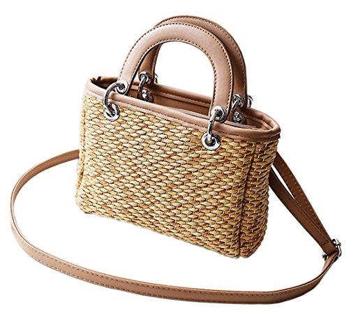 Crossbody HopeEye Beach Girl Bag yellow 1 Straw Gift Handmade Shoulder Fashion Handbag Bags White Womens Znw0wTxIF