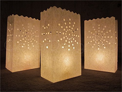 CleverDelights White Luminary Bags - 20 Count - Sunburst Design - Wedding, Reception, Party and Event Decor - Flame Resistant Paper - Luminaria