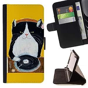 Momo Phone Case / Flip Funda de Cuero Case Cover - Gatito Gato Negro Music Amarillo - Sony Xperia Z3 Compact