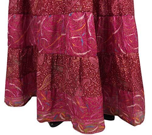 Jupe Maxi Panel Bandhani Femmes Robe Rose Évasée 7 Soie Indianbeautifulart Pure Longue I29WEDHY