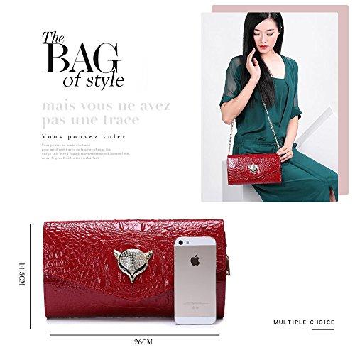 Mujer Cocodrilo Con Yoome Diseño Bolso Rojo Acero Para Inoxidable Piel De Hebilla 0qOqBI