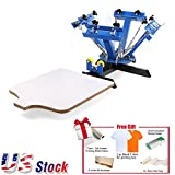 4 Color Screen Printing Press Machine Silk Screening Pressing DIY with 1 Station+GIFT - US Stock