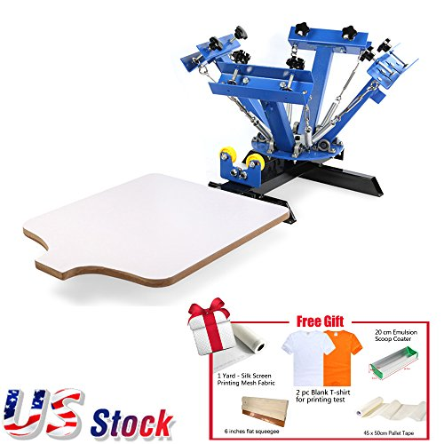 4 Color Screen Printing Press Machine Silk Screening Pressing DIY with 1 Station+GIFT - US Stock by Ving