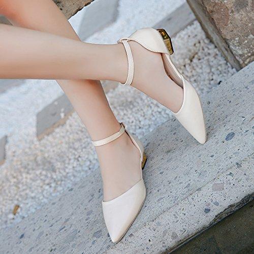 alla lato con grossa e primavera La punta donne l'estate Beige alla nuove cinghie sandali singolo allievo scarpe vuoto luce scarpe ZHZNVX della caviglia Tqz0gww