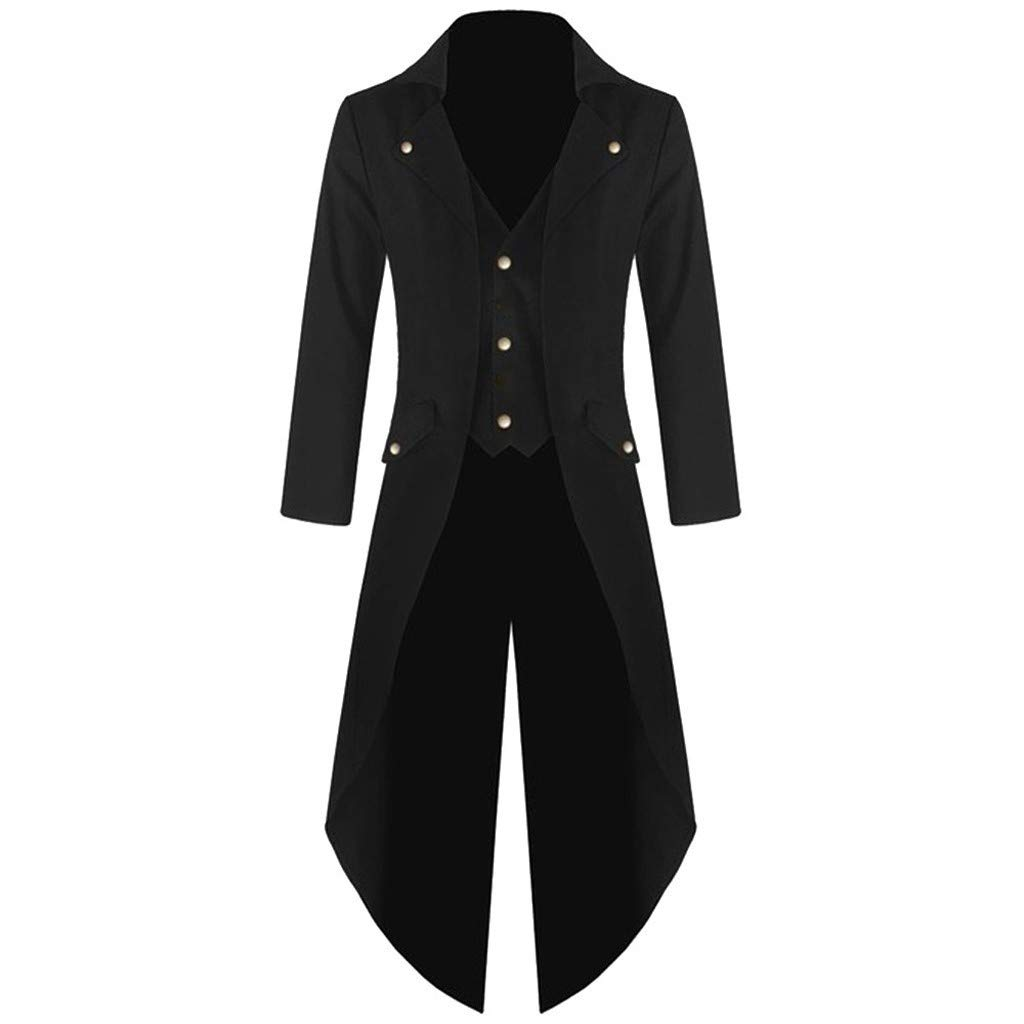 Doad T-Shirt Mens Casual Coat Tailcoat Jacket Gothic Frock Coat Uniform Costume Party Outwear (M, Black) by Doad T-Shirt