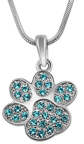 - Small Puppy Dog Cat Kitten Paw Print Dog Mom Rescue Foster Pendant Charm Necklace - Animal Lover Jewelry Gifts for Women, Teens, Girls (Teal)