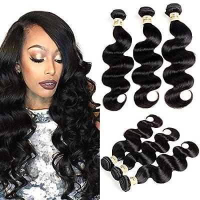 VIOLET 100% Unprocessed Brazilian Hair 3 Bundles Body Wave Grade 8A Body Wave Brazilian Human Hair Weave Bundles Natural Black Color