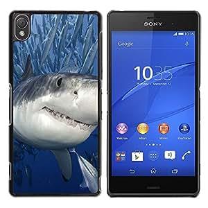 // CIUDAD ACTUAL MECELL // SmartPhone funda carcasa de plástico duro PC genial imagen para Sony Xperia Z3 /// Tiburón asesino con peces ///