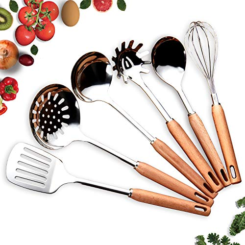 HOMQUEN Beechwood Kitchen Utensil Set
