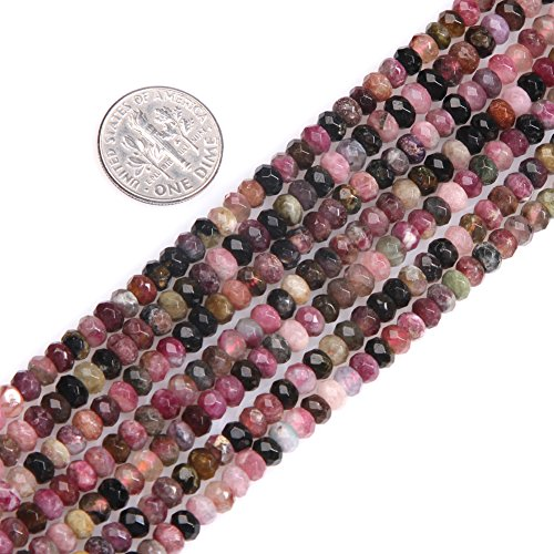 Faceted Tourmaline Gem - Gem-inside 3X4MM Natural Faceted Purple Tourmaline Gemstone Rondelle Spacer Beads For Jewelry Making 15 Inches