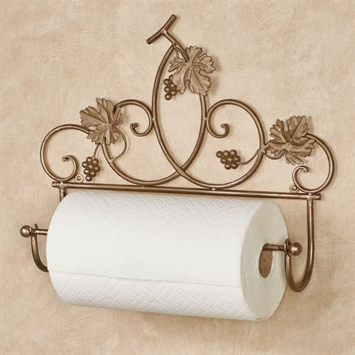 Grapevine Wall Paper Towel Holder Satin Gold