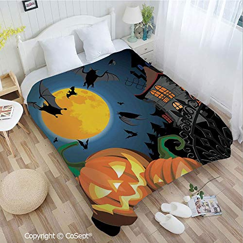 PUTIEN Warm Flannel Blanket,Gothic Halloween Haunted House Party Theme Decor Trick or Treat for Kids,for Bed,Couch,Car(72.83