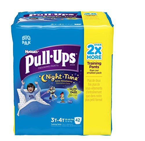 Huggies Pull-Ups Night Time Training Pants for Boys, 3T-4T, 42 Count (Pack of 2)