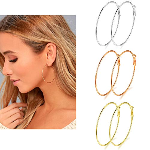 3 Pairs Big Hoop Earrings, 50mm Stainless Steel Hoop Earrings in Gold Plated Rose Gold Plated Silver for Women Girls (50mm)