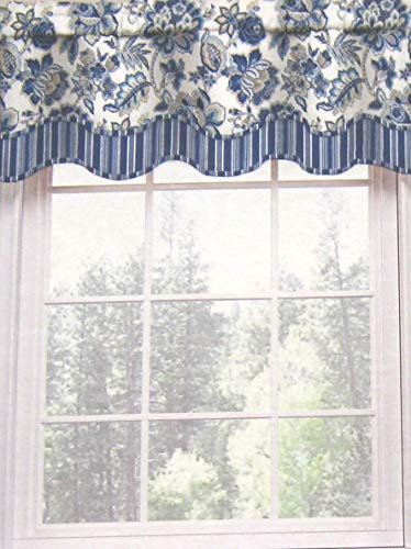 - Waverly Home Blue Floral Ceylon Scallop Valance, 52-inch X 16-inch