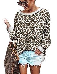 Assivia Womens Crewneck Sweatshirt Leopard Print Pullover Long Sleeve Tops Blouse