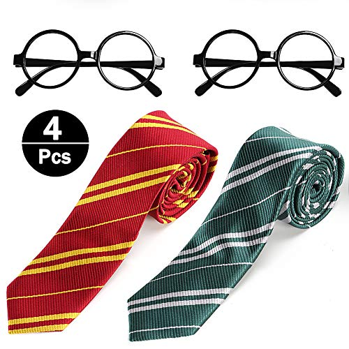 JoyJon Harry Striped Tie with Novelty Glasses Frame in Magic School for Cosplay Halloween Costumes Accessories for Kids