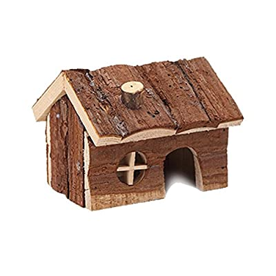 Natural Wooden House Wood Hut Living Habitat for Hamsters Mouse and other Small Furry Animals