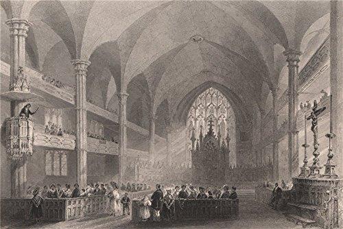 QUEBEC. Interior of Basilique Notre-Dame de Montréal. Cathedral. BARTLETT - 1842 - old print - antique print - vintage print - Canada art prints