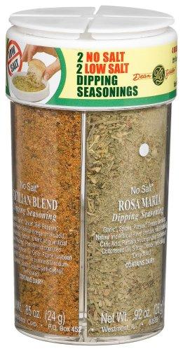 Dean Jacobs 4 Bread Dipping Seasonings, Low Salt and No Salt, 3.71-Ounce Large Jars (Pack of 3)