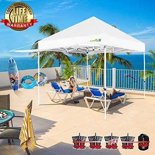 2NDHOME Canopy Tent Popup Canopy 1010 POP Up Canopy Tent Commercial Tent Outdoor Party Canopies with 4 Removable Zippered Sidewalls and Roller Bag Bonus 4 Canopy Sand Bags 24 Squre Ft
