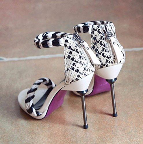 Altos Nuevo Toe Sandalias YMFIE Mujer y Tacones Estilo con Zapatos de Verano Toe Zapatos Europeo a Zipper Sexy xq5xPIA