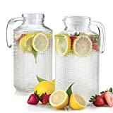 Glass Pitchers With Lid And Spout 2-Piece Set, 1.8-liter Diamond...