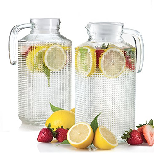 Glass Pitchers With Lid And Spout 2-Piece Set, 1.8-liter Diamond Cut Design Fridge Door Pitchers With Handle For Chilled Beverage Homemade Juice, Iced Tea or Water (Square Glass Pitcher)
