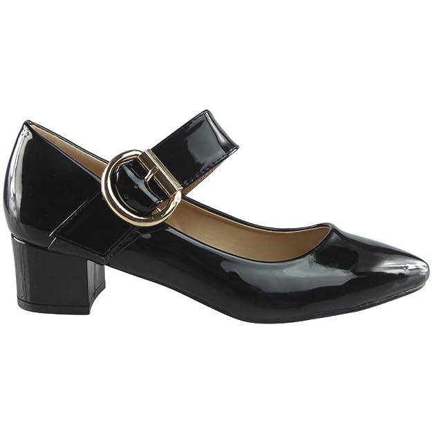 Damen Mary Janes Niedrig Mitten Hacke Arbeit Spitz Zehe Schuhe Größe 38 uKswi6