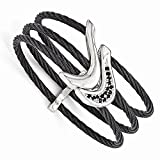 Best Designer Jewelry Edward Mirell Titanium Black Ti Sterling Silver Spinel Cable Flexible Cuff
