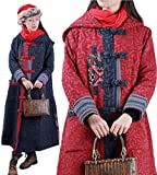 YESNO TR9 Women Long Hooded Quilted Jacket Winter Warm Jacquard Coat Chinese Tang Suit Ethnic Pattern Cuff (One Size, Red)
