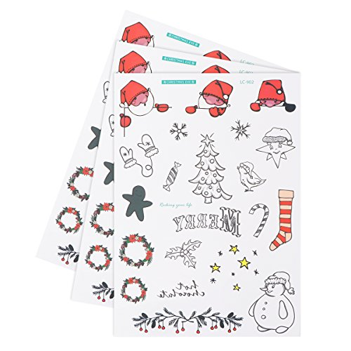 Pinecone Snowman - TINKSKY 3PCS Waterproof Disposable Christmas Temporary Tattoo Stickers Sheets Snowman Santa Pinecone Garland Sock Patterns Body Art Stickers For Children And Adults Hot Party Festive Supplies (LC-902)